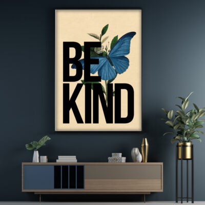 Be Kind Poster. Vintage inspired Typography poster
