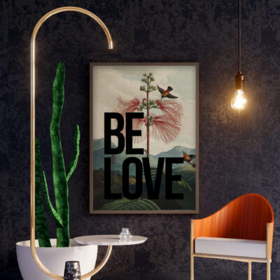 Vintage Inspired Poster. Be Love Typography Art Print