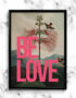 BE LOVE Vintage inspired Typography Art Print in Coral.