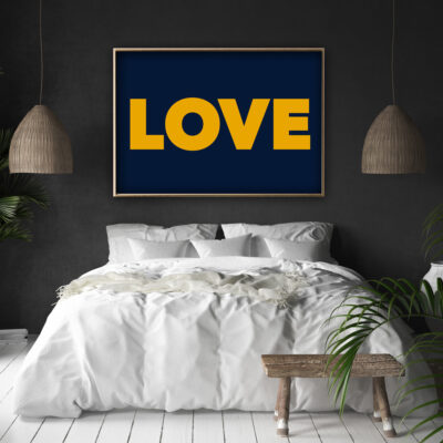 LOVE Typography Poster in Navy & Yellow
