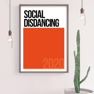 SOCIAL DISDANCING Typography Poster in Orange. Pantone Inspired Poster