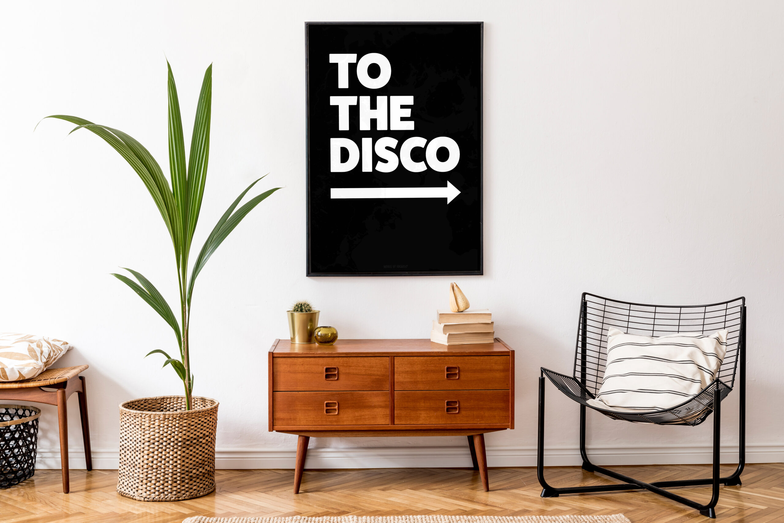 To The Disco Typography Poster in Monochrome Black and white