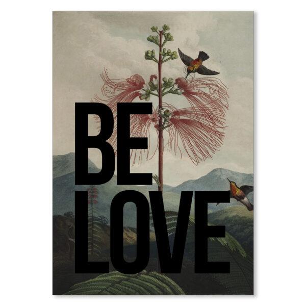 BE LOVE Vintage inspired Typography Art Print in Black.