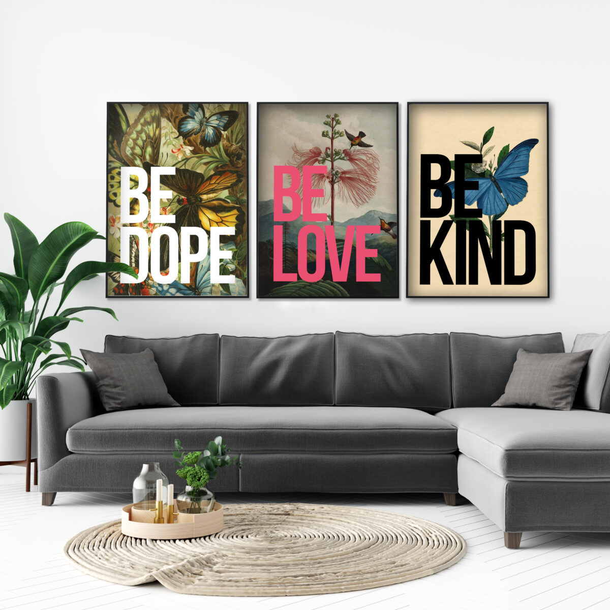 Vintage inspired gallery wall inspiration with our Vintage Collection of oversized Typography Artwork